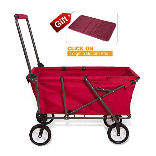 REDCAMP Collapsible Wagon Cart,Folding Utility Wagon All Terrain Outdoor Beach Sports,Red