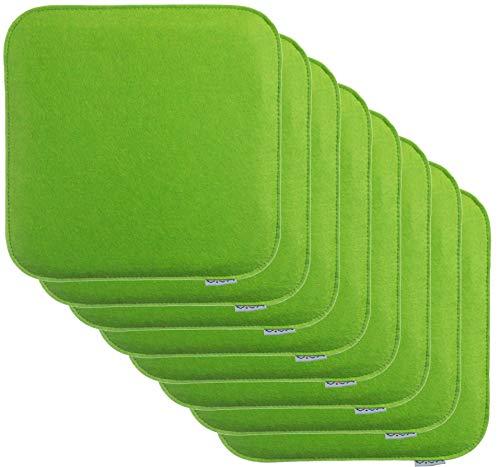 Brandsseller Sitzkissen Filz Eckig Stuhlkissen Sitzpolster Auflagen - 35 x 35 x 2 cm (8er-Vorteilspack, Grün)