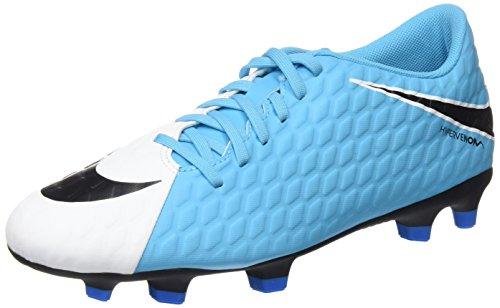 Nike Hypervenom Phade Iii Fg, Scarpe da Calcio Uomo, Multicolore (White/Black/Photo Blue/Chlorine Blue), 42.5 EU