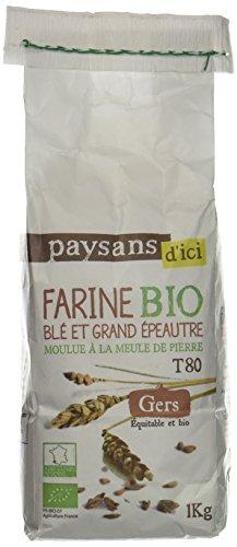 Ethiquable Farine de Blé et de Grand Épeautre Gers Bio 1 kg Paysans d'Ici