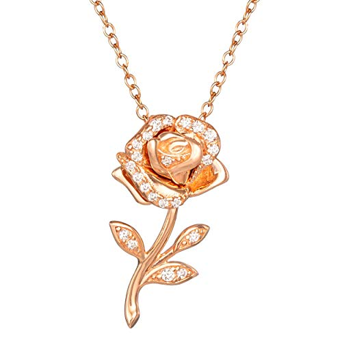 Disney Beauty and the Beast Pink Gold Over Sterling Silver Enchanted Rose Cubic Zirconia Necklace 18