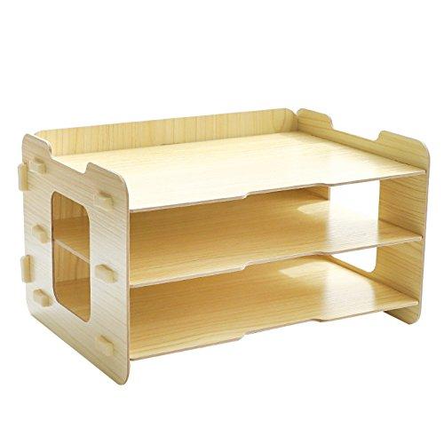 cicilin organizador escritorio madera Set de almacenamiento DIY libro 3 compartimentos de almacenamiento cestas con correo cajas de almacenamiento de carpetas organizador para bolígrafo, color natural