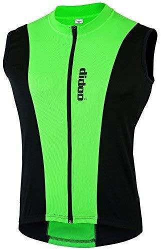 Didoo Maniche Maglia Ciclismo Uomo Ciclismo Canotta con Zip Intera Tasche Posteriori Traspirante Riflettente Corsa/MTB Giacca per Uomo Estate 2019 - Verde, L