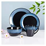 YLJYJ Piatto Piano Riutilizzabile Set di Piatti e Ciotole per la casa Set di Piatti in Ceramica durevoli Set di 4 stoviglie Blu, Cena (Cucina)