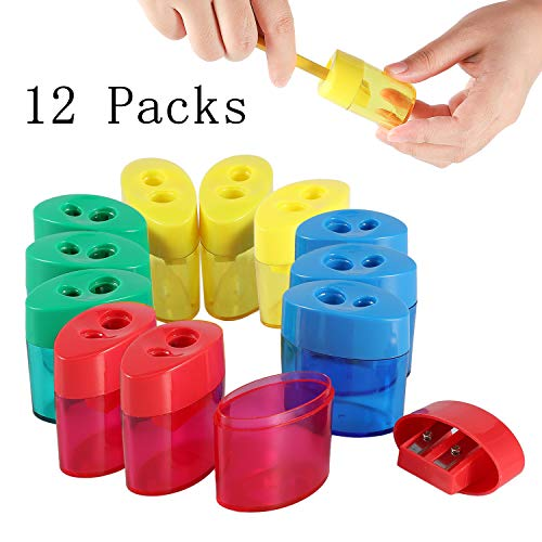 KIDMEN 2 Holes Pencil Sharpener,Pencil Sharpener for Kids,Pencil Sharpener Handheld-12 PACK