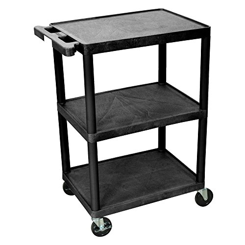 Luxor Multipurpose Storage Utility Cart 3 Shelves Structural Foam Plastic - Black