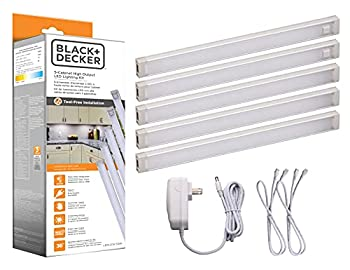 BLACK+DECKER LEDUC9-5WK LED Under Cabinet Kit with Motion Sensor Dimmable Kitchen Accent Lighting Tool-Free Install Warm White 2700k 9  Length 5-Bars