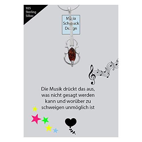 Musikinstrument Bernstein Geige Violine Halskette Viola Bratsche Geiger Kette Anhänger 925 Silber Schmuck Kettenanhänger #1646