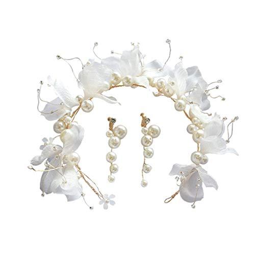 Lurrose 3 piezas de flores de tela pendientes de perlas de cera para niñas nupciales conjunto de joyas de decoración de corona de pelo de boda