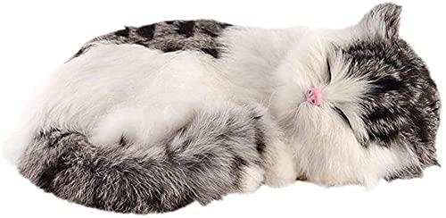 XIAN Gästehung 100% handgemachtes Synthetisches Pelz realistisch lebensechte schlafende Katze beglaubigung Haustier Katze kreative Hause büro Schlafzimmer dekor hailing (Color : Grey+White)