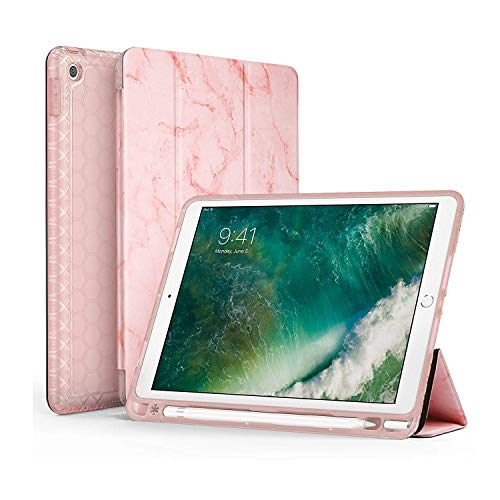 SWEES Compatible for iPad 9.7 2018/2017 Case with Pencil Holder, Shockproof Smart Cover Leather Case with Built-in Apple Pencil Holder Compatible for iPad 9.7 inch 6th/5th Generation, Pink Marble