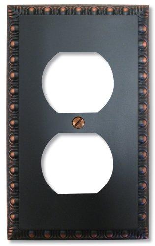 Amerelle Egg & Dart Single Duplex Cast Metal Wallplate in Aged Bronze