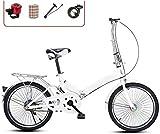 20 Pulgadas Bicicleta Bici Ciudad Plegables Adulto Hombre Mujer, Bicicleta de Montaña Btt MTB Ligero Folding Mountain City Bike Doble Suspension Bicicleta Urbana Portátil, H108ZJ
