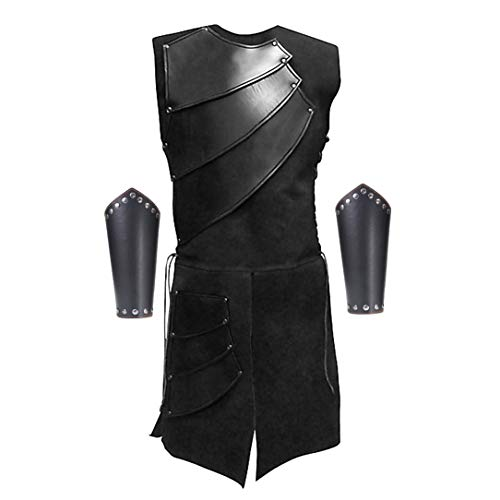 Men's Side Laces up Knight Viking Pirate Armor Long Waistcoats Vests Long Bracer Costume Set Black