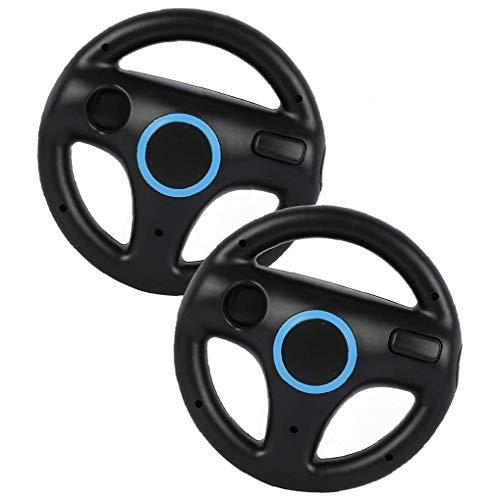 Sillas de Ruedas de Carreras Juego de Carreras del Volante Controlador de Wii Wheel Compatible con el Mando de Wii Juego Negro 2 Piezas
