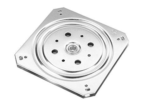 Gedotec Drehbeschlag 360° Drehteller zum Schrauben | Stahl verzinkt | Druck-Kugellager 150 kg | Schwerlast-Drehplatte 155 x 155 x 10,5 mm | 1 Stück - Drehplatte für Tischplatten - Küche - Möbel uvm.