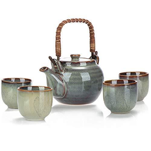 COM-FOUR® 5-teiliges Tee-Set, Teekanne und 4 Teetassen aus Keramik, kunstvoll glasiertes Teeservice für Teezeremonien, Steinzeug im japanischen Stil (5-teilig Tee-Set)