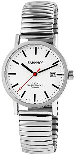 Bahnhof Zugband Herrenuhr Weiß Silber Datum Analog Edelstahl Quarz Armbanduhr