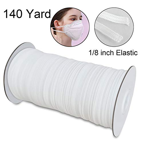 Elastic for Sewing 1/8 inch Elastic Cord 3mm Elastic Wide Braided Stretch Strap for DIY Sewing Crafting Flat White 140 Yards