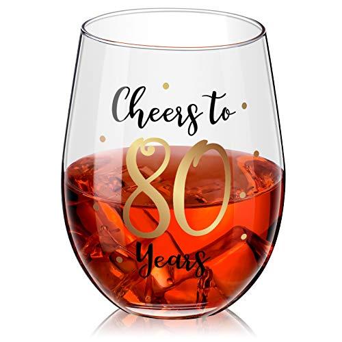 Copa de Vino sin Tallo de Cumpleaños Copa de Vino de Cumpleaños Oro de Regalo para Decoraciones de Cumpleaños Aniversario Boda de Mujeres Hombres, 17 oz sin Tallo (Cheers to 80 Years)
