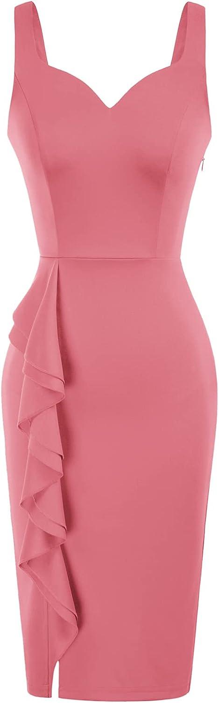 GRACE KARIN Women Sleeveless Deep V Neck Ruffle Cocktail Pencil Dress