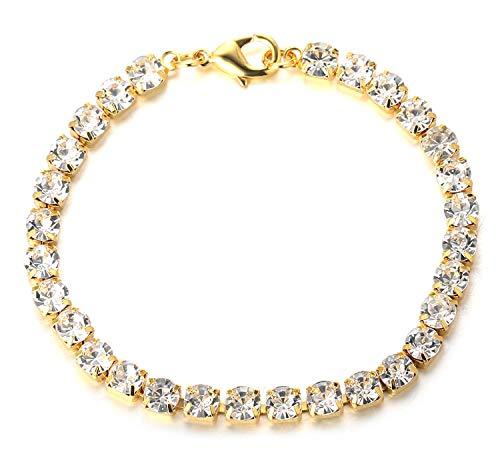 Halukakah Diamante Cadena Tenis Hombres,6MM Pulsera 8.7In(22cm) en 18kt Chapado en Oro Real,Cz Completo Diamante Prong Set,Regalo para él