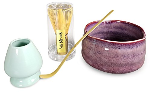 Matcha Tea Set Includes Matcha Bowl Chawan, Whisk, Stand and Scoop for Traditional Japanese Tea Ceremony by Princeton Wares - Kyoto Plum