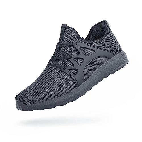 QANSI Mens Running Walking Shoes Lace-up Outdoor Athletic Sports Gym Tennis Lightweight Sneakers Non Slip Casual Work Shoes Gray-2 10.5