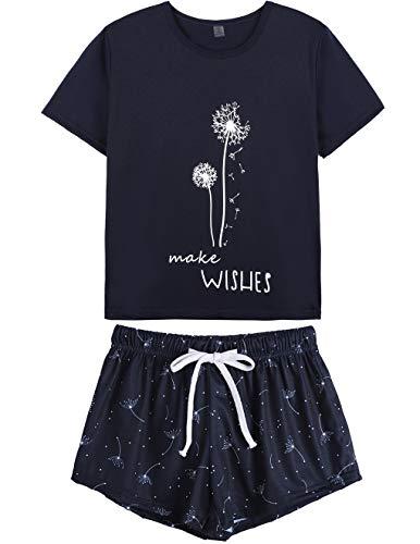 HONG HUI Pajamas for Women Short Sleeve Top with Pants Summer Sleepwear Pjs Sets Blue, Medium