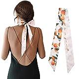 Mengmeng Angel Women's Silk Fashion Fruits Printed Neckerchief Hair Tie Band Handbag Handle Ribbon Scarf