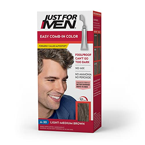 Just For Men Easy Comb-In Color (Formerly Autostop), Gray Hair Coloring for Men with Comb Applicator Included, Easy No Mix Application - Light-Medium Brown, A-30 (Packaging May Vary)