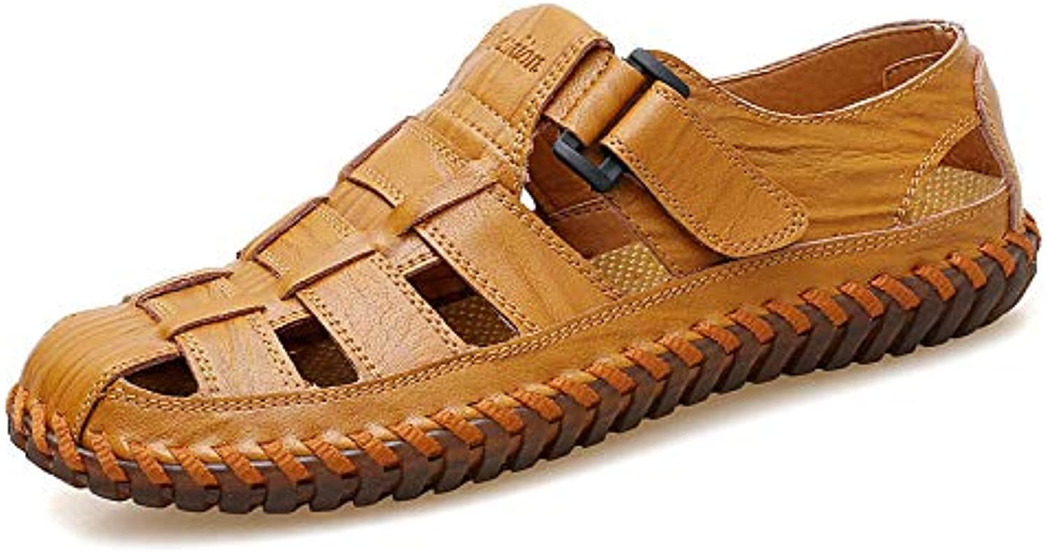 Qiusa Men Hollow out Breathable Genuine Leather Closed Toe Non Slip Sandals UK5.5-11 (color   Yellow, Size   UK 9.5)