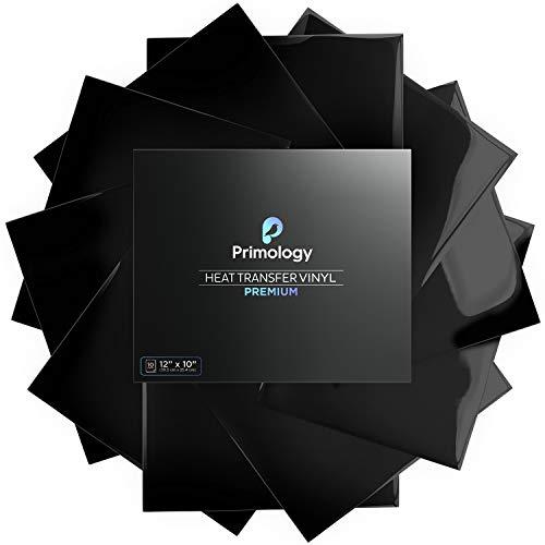 "Primology Heat Transfer Vinyl: 10 Pack 12"" x 10"" Premium Iron On Vinyl, HTV Vinyl for T-Shirts - HTV for Cricut, Silhouette Cameo, Heat Press Machine - Black"