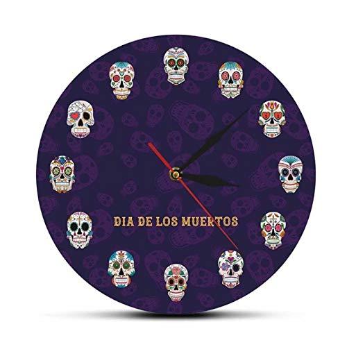 LiHiFG Chef Skull Reloj de Pared Kichen Food Cooking Skull Reloj de Pared de diseño Moderno Reloj de Pared de Halloween Decoración de Arte