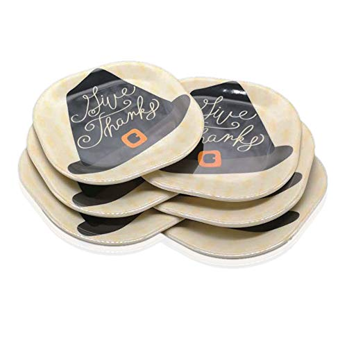 Melamine Dessert Plates - Appetizer Plates 8 Inch - Indoor or Outdoor Christmas Day Dinner Plates Set of 6 Oyooysy Bread Butter Trays Hats Pumpkin Style Hard Plastic Dishes (Black)