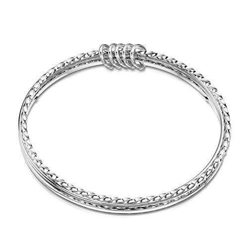 Amberta Echt 925 Sterling Silber - Set aus 3 Armreifen für Damen - Armband Durchmesser 68 mm - Breite 1.7 mm