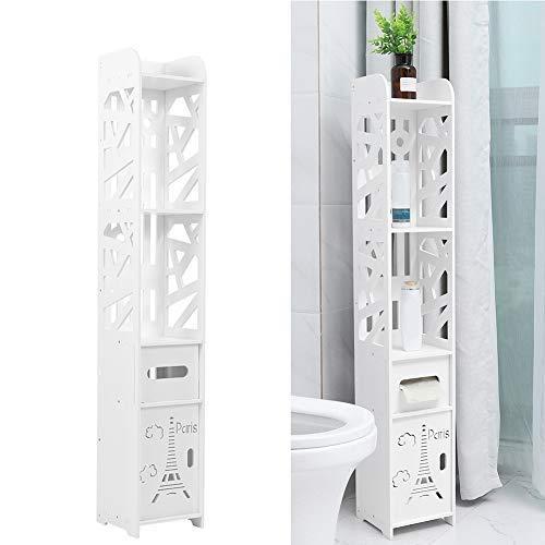 Zoternen Mueble Columna de Baño de Madera Armario de Suelo para Baño con 3 Estantes y 2 Cajones,Blanco,120x20 x20 cm