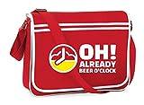 Bolsa para el hombro de la marca Druckerlebnis24. Reloj de cerveza, adecuada para escuela, universidad, ordenador portátil o trabajo