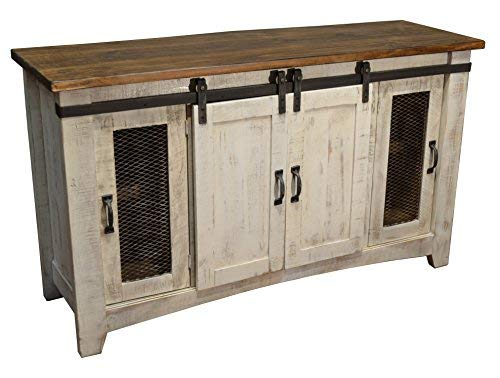 Crafters and Weavers Greenview White 60' TV Stand/Sideboard/Console Table with Sliding Doors