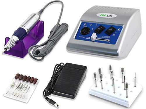 Profi Fußpflege Set mit Fußpflegegerät und Fräser Diamantschleifer mit extra starker Leistung und einfacher Bedienung
