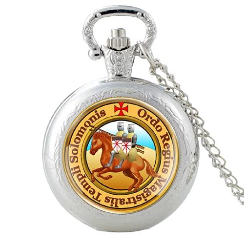 Reloj de bolsillo de cuarzo con diseño de cruz de caballero de Rumania vintage con diseño de caballero templario de cristal y cabujón retro para hombres y mujeres