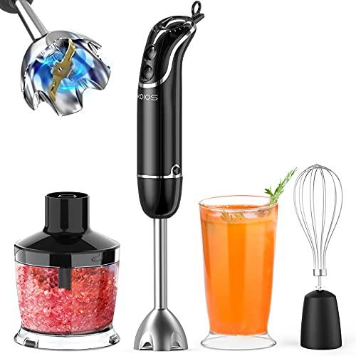 KOIOS 800-Watt/ 12-Speed Immersion Hand Blender(Titanium Reinforced), Turbo for Finer Results, 4-in-1 Set Includes BPA-Free Food Chopper / Egg Beater / Beaker, Ergonomic Grip, Detachable