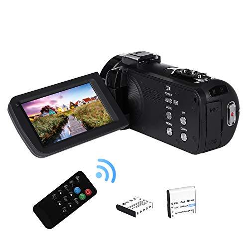 2,7K Cámara de Video Videocámara GDV1302 Cámara de Vlogs Recargable Zoom Digital 18X FHD 42MP Videocámara de Pantalla LCD giratoria de 3' con 2 Baterías