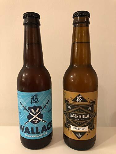 As Cerveza artesana Sin Gluten. Kit 2 sabores degustación, Pack 12 Botellas de vidrio 33 cl. Etilos American Blonde Ale y Pilsner Lager. Birra. Craft Beer