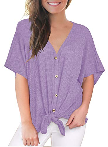 MIHOLL Women's Summer Tops Short Sleeve V Neck Batwing Loose Flowy Casual Shirts Blouse Plus(XX-Large, Light Purple)