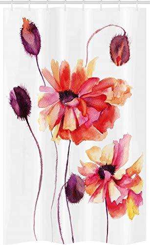 ABAKUHAUS Blume Schmaler Duschvorhang, Aquarell Mohn Knospen, Badezimmer Deko Set aus Stoff mit Haken, 120 x 180 cm, Scharlachrot Lila Pfirsich