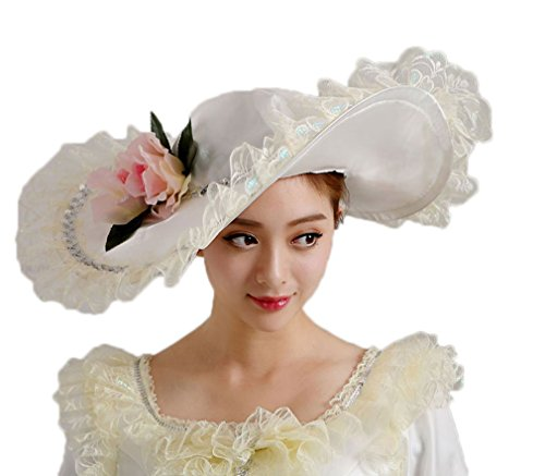 Soojun Women's 1801s Era Misses Wide Brim Victorian Hats for Party, White 1, One Size - http://coolthings.us