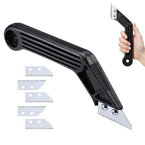 AOMIAO Eliminador de juntas con 5 piezas de repuesto de cuchillas Herramienta de rastrillo Angular lechada Limpia removedor para azulejos de suelo y pared