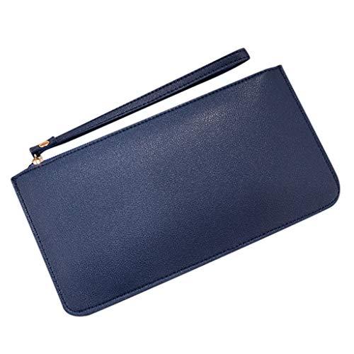 TTLOVE Brieftasche Retro Premium Pu Leder Damen GeldböRse Portemonnaie Exquisit Mode Frau Lange MüNze Karte Inhaber Handtasche Geschenk Elegant Party(Marine)