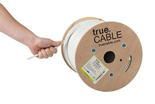 trueCABLE Cat6 Shielded Riser (CMR), 500ft, White, 23AWG Solid Bare Copper, 550MHz, ETL Listed, Overall Foil Shield (FTP), Bulk Ethernet Cable